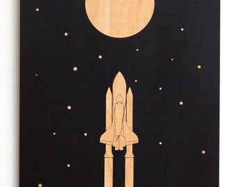 Space Shuttle Launch Night Sky Stars and Moon Minimalist Wood Wall Art NASA ESA Space