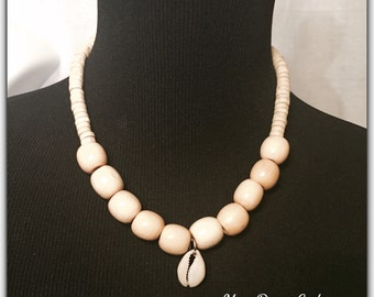 Wooden Beads and Cowry Shell Necklace