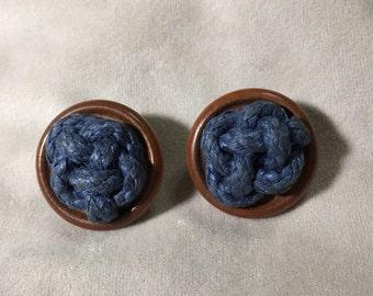 Vintage Knot work wood earrings