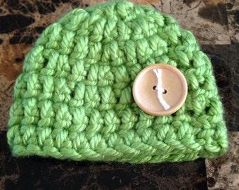 Green newborn baby hat, newborn hat, baby hat, hat, newborn, baby, crocheted hat, crochet hat, crochet baby hat, crochet, green