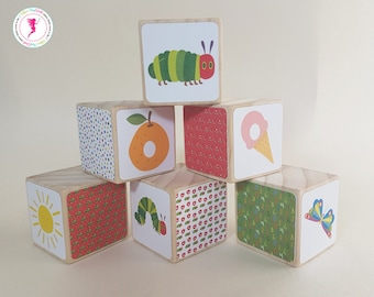 The Very Hungry Caterpillar Wooden Blocks, Decorative Wooden Blocks, Wooden Toys, Hungry Caterpiller
