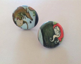 Earrings multicolor 3D printed. Graphics by LO on the theme of the little Red Riding Hood