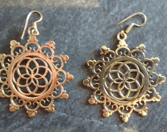 Brass seed of life earrings,mandala,tribal brass.boho,Indian brass