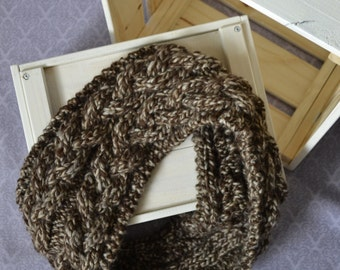 Knitted cables chunky infinity brown beige scarf, comfy and warm for winter and spring - cozy fashion for her - women winter wear