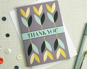 Pretty Floral Thank You Greetings Card, Thank You Notecard, A6 Small Card