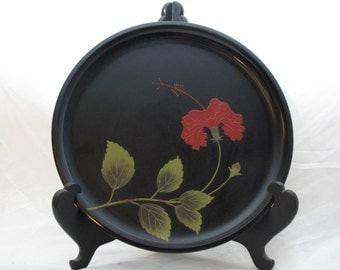 Japanese Okinawa Bembo Lacquer Ware Plate with Stand
