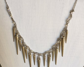 Spike Crystal Silver Chain Necklace