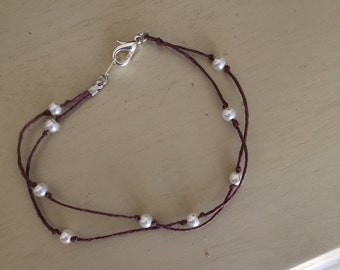 Danity hemp cord pearl bracelet