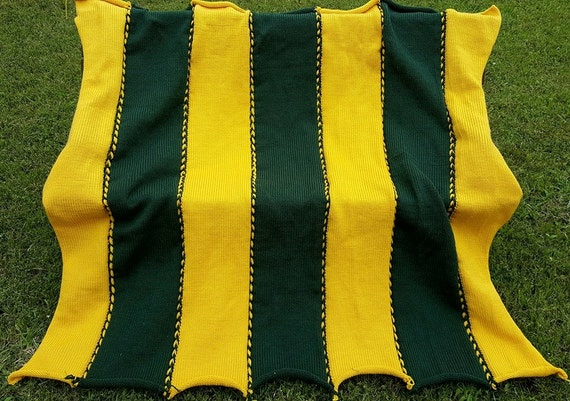 Crochet Pattern Green Bay Packer Afghan : Green Bay Packers Inspired Afghan by LizC864 on Etsy
