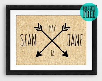 Love Arrow Prints, Love Sign, Personalized Name Sign, Rustic Home Decor, Burlap Print, Anniversary Gifts, Boyfriend Gift, Husband Gift, CM88