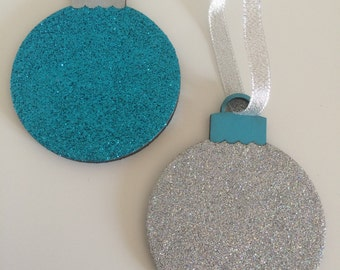Glitter Christmas Baubles ~ Christmas Tree Baubles ~ Glitter Baubles ~ Christmas Decorations ~ Set Of 4 Baubles ~ Christmas Ornaments