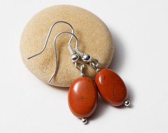 Red Gemstone Earrings - Silver Plated. Red Jasper Earrings. Jasper Earrings.