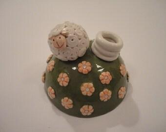 Ceramic pen holder - little sheep pen holder - home decor - office decor - gift idea