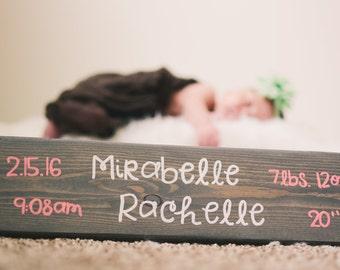 Custom Newborn Baby Name sign with birth info / stats