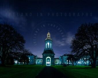 Trinity College Dublin, Front Square Trinty College at Night, Fine Art Print Dublin, Wall art Dublin, Ireland. Panorama Trinity College. TCD