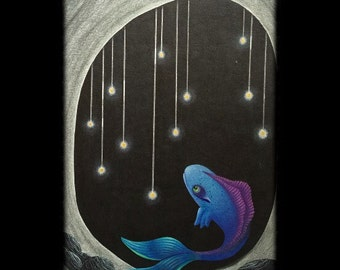 ORIGINAL 16x21 drawig of a whimsical fish - The Thief - KacieArtGallery