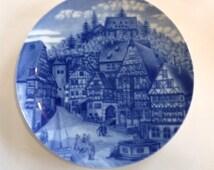 Set of 3 German Vintage Porcelain Bavarian Blue Collectable Plates. Forstenberg Hamburg Miltenburg.