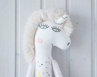 Stuffed animal Prosha the unicorn Rag doll