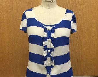 Nautical Blue and White Stripe Ruffle Front Button Blouse