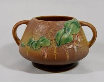 Roseville Pottery Fuchsia Brown Vase 346-4