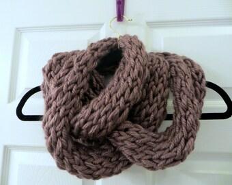 Handmade Knit Mauve Chunky Infinity Scarf