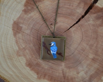 Hand Painted bluejay necklace gift box included