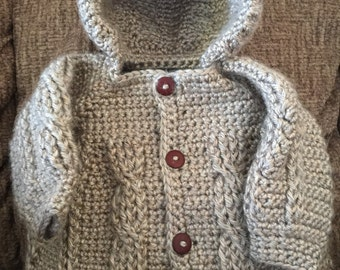 Baby Boys Crocheted Hooded Sweater