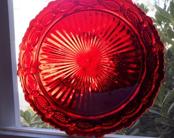 Ruby Red Cape Cod Plate by Avon