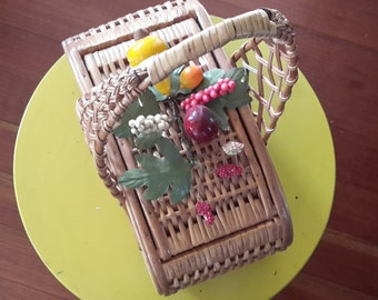 Vintage Straw Purse with Fruit Embellishments
