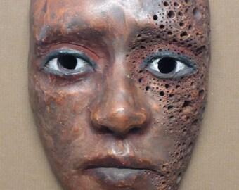 freckles three -actual size ceramic mask created by portrait artist Anita Dewitt