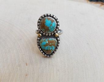 Sterling Silver #8 mine Turquoise Ring with 2 18k gold balls, Natural Number 8 mine Turquoise Ring size 7 1/2, Ready to Ship, Turquoise Ring