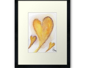 Aceo Original Watercolor Heart Miniature Painting-Not a Print-My 3 hearts