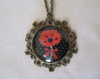 Pendant cabochon red poppy