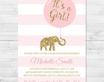 Baby Shower Invitation Girl, Pink And Gold Baby Shower Invitation, Sparkle Baby Shower Invitation, Elephant, Glitter