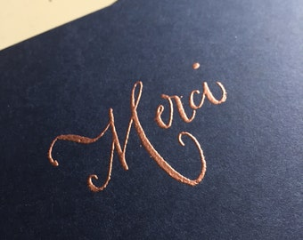 """Handmade embossed """"Merci"""" thank you card // thank you cards // embossed cards // custom colors"""
