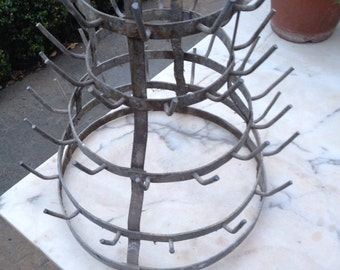 Vintage French metal bottle dryer.