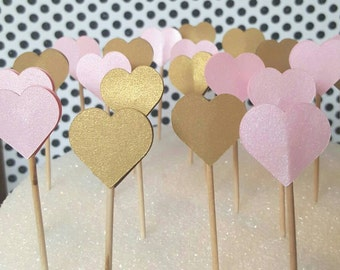 Heart cupcake toppers, pink and gold, bridal shower, engagement, party, Qty of 24