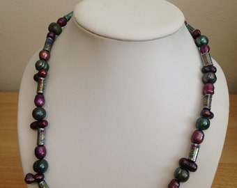 Purple and Green Pearl Necklace