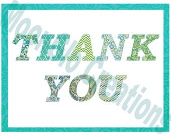 Thank you card, Patchwork font,Printable Download