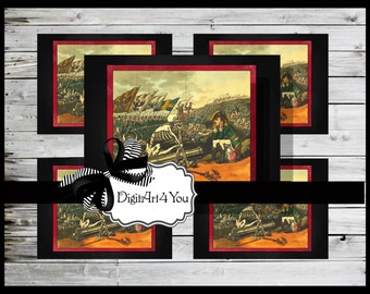 Digital collage/Soldier/French/France/War/Skeleton/Grim Reaper/War/Unusual/Digital Download/Vintage Art/Supplies/Inchies/Dominoes/Collage
