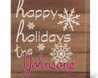 Personalized Happy Holidays Christmas Print (Canvas or Metal)