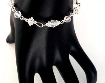 Dainty Bridal Glass Crystal Bracelet