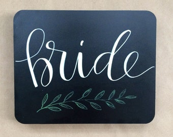 Wedding Chalkboard Bride and Groom Chair Signs with Florals