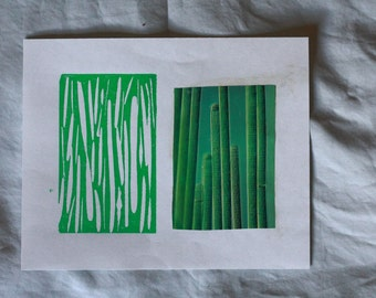 Green line linoleum block print - various sizes