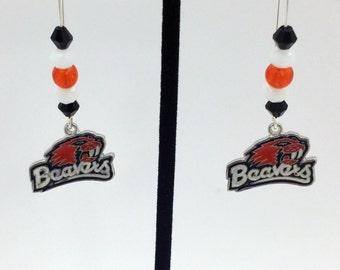 1 Pair - Oregon State Beavers Theme Dangle Beaded Earrings Brass Ear wire Kidney Style EAR0046