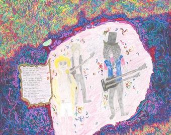 "Rock 'n' Roll Band ""Guns and Roses"" Drawing // Art // Slash // Axl Rose // G 'n' R"