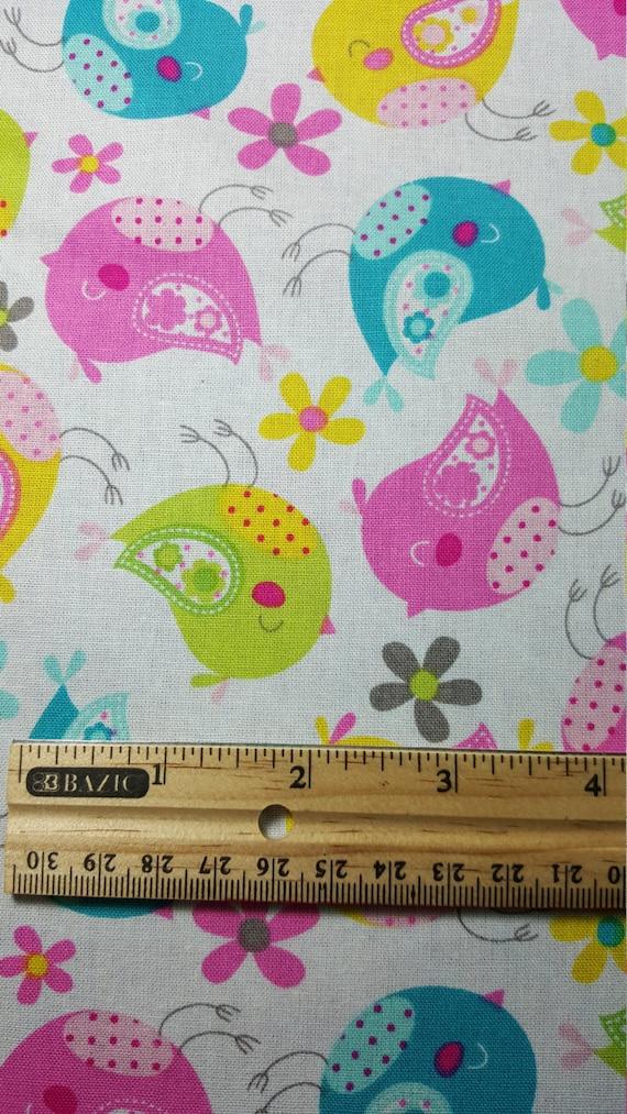 Items similar to cute birds fabric fat quarter only fq for Bird nursery fabric