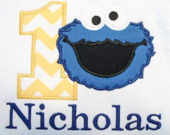 Personalized Elmo or Cookie Monster Birthday Embroidered and Appliqué Shirt or Bodysuit
