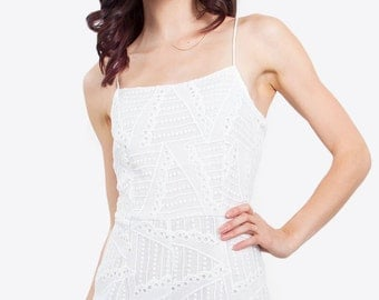 White Open Back Romper