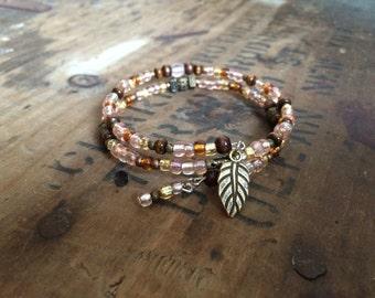 Rustic Pinks- Beaded Bracelet, Memory Wire Bracelet, Bohemian Bracelet